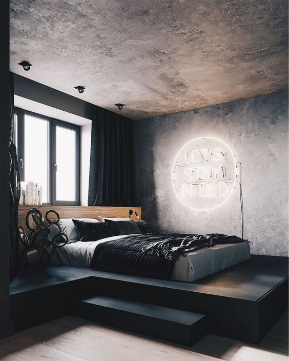 Industrial Bedroom Ideas: Let The Concrete Stays