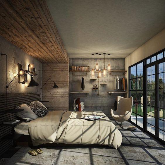Industrial Bedroom Ideas: Combine Them