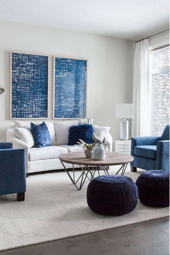 Navy Living Room Ideas: Perfect Combination