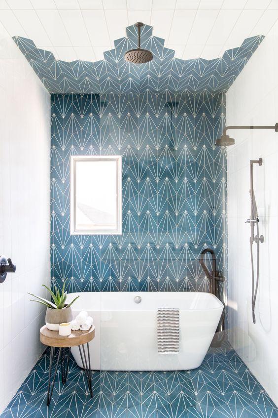 Bathroom Blue Ideas: Unique Navy Pattern