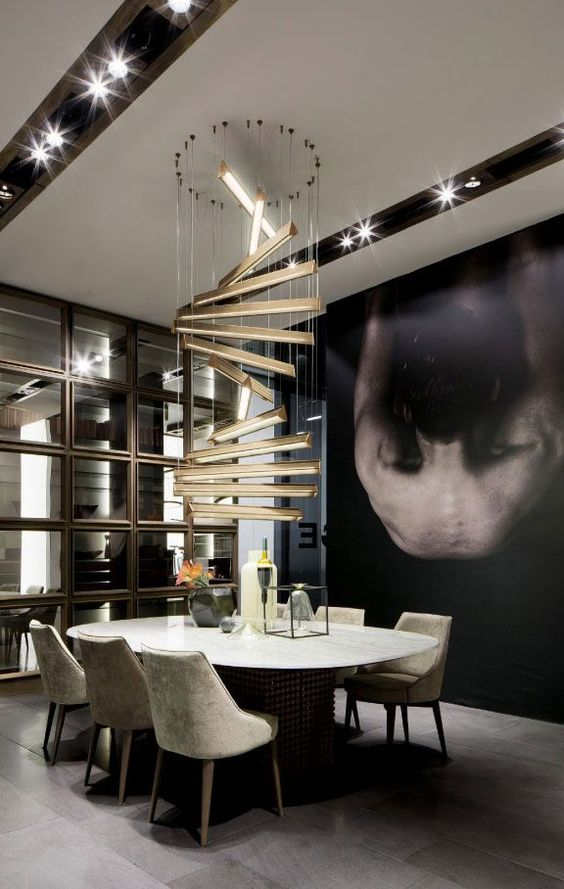 Dining Room Luxury Ideas: Outstanding Lighting Feature