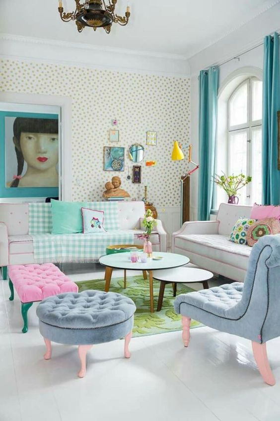 Shabby Chic Living Room Ideas: Simple Pattern and Pastel Shade