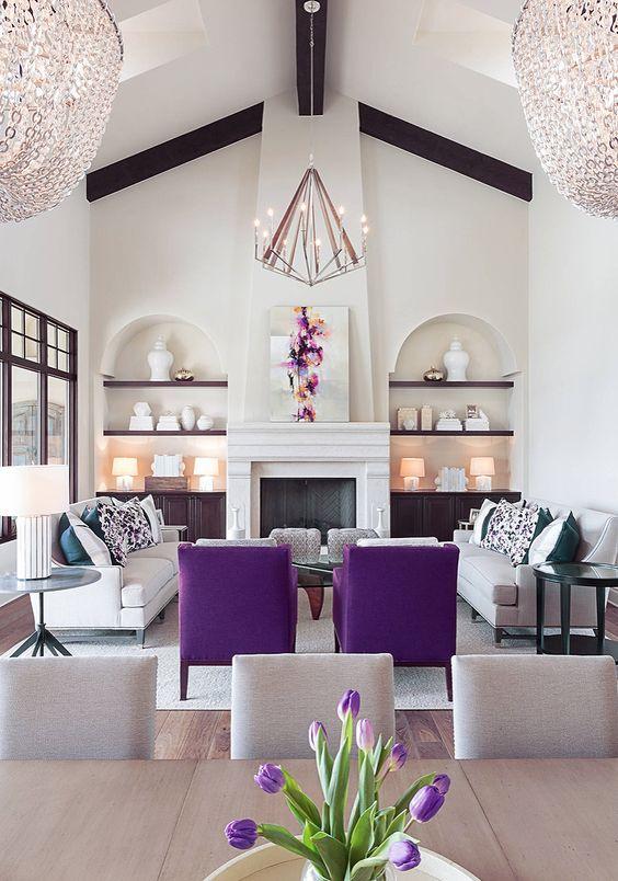 Big Living Room Ideas: Sweet Purple Area