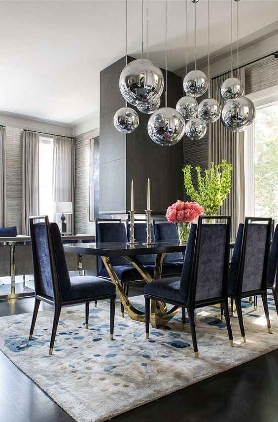 Formal Dining Room Ideas: Elegant Navy Room