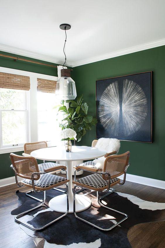 Green Dining Room Ideas: Bold Dark Green