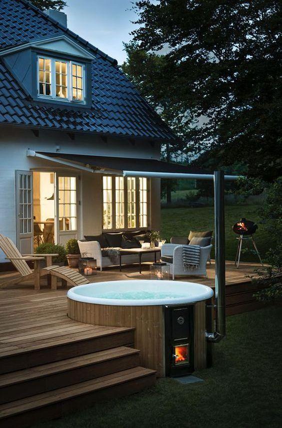 Hot Tub Ideas: Chic Wood-Fired Tub