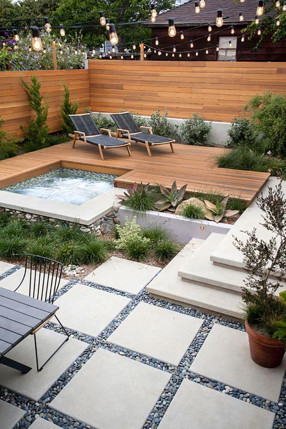 Hot Tub Ideas: Cozy Inground Tub