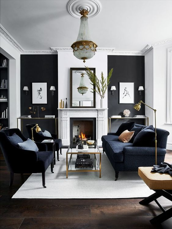 Living Room Black Ideas: Black and White