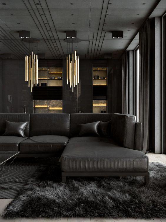 Living Room Black Ideas: Masculine Black Room