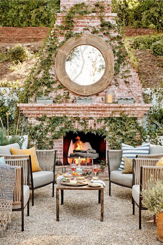 Backyard Fireplace Ideas: Enchanting Rustic Fireplace
