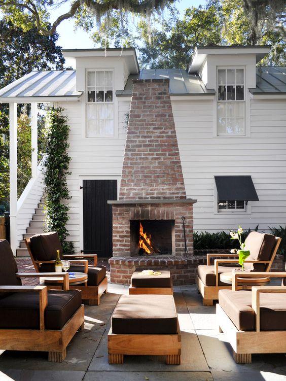 Backyard Fireplace Ideas: Minimalist Brick Fireplace