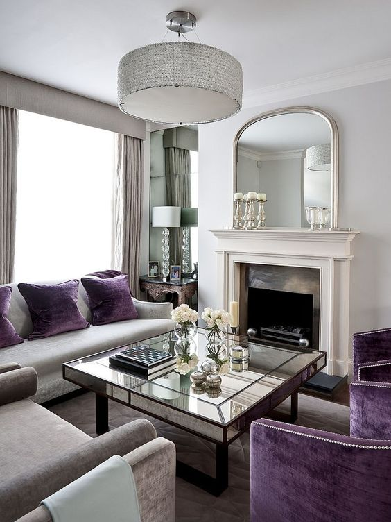 Traditional Living Room Ideas: Elegant Purple Accent